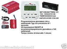 AMPLIFICATORE CON USB PLAYER TIMER TDS-12 V BATTERIA 12V ADATTO CANTO UCCELLI