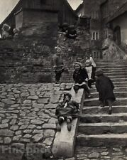 1916/72 Vintage 11x14 KIDS CHILDREN PLAYING Slide Hungary Photo By ANDRE KERTESZ