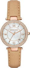 Michael Kors Women's Mini Parker Glitz Rose Gold Tone Nude Leather Watch MK2463