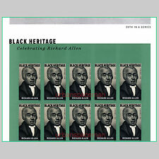 5056a Richard Allen AME Black Heritage Imperf Top Half Pane of 10 No Die Cuts
