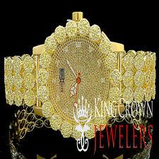 Mens Genuine Diamond Khronos Jojino Jojo Yellow Cluster Bezel Custom Band Watch