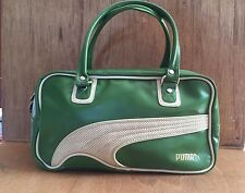 PUMA Women's Fitness Bag Gym Shopper Shoulder Bag Purse GREEN White PVC Piping