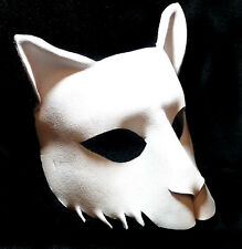 Bianco Cat Mask Handmade Leather Venetian Masquerade white
