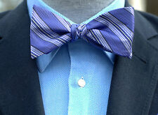 Lord R Colton $75 Amethyst Purple Stripe Reversible Bow Tie Brand New