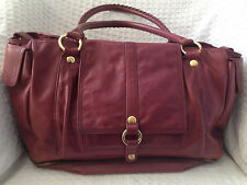 CHAIKEN Plum Lamb Leather Diaper Bag Tote Purse Carryall Baby Chic Bag-NICE