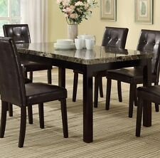 Poundex F2093 Espresso Finish Dining Room Table With Faux Marble Top