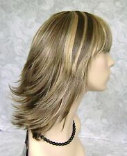 Short Straight Brown Blonde Choppy Layers Flip Out Full Synthetic Wig Wigs - #66