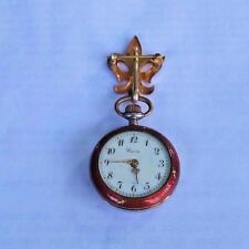 ANTIQUE 800 SILVER GUILLOCHE ENAMEL SWISS LAPEL WATCH BY CORA