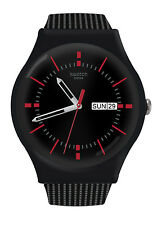 Swatch SUOB714 Gaet Black Red Analog Day Date Dial Silicone Unisex Watch NEW