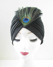 Black Peacock Feather Turban Vintage 1920s Great Gatsby Headpiece Cloche Hat U14