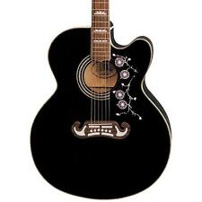 Epiphone Jumbo EJ-200SCE Acoustic-Electric Guitar Black Cutaway & Hard Case