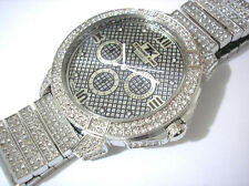 Iced Out Bling Bling Big Case Hip Hop Techno King Men's Watch Silver Item 2908