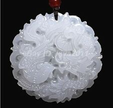 Vintage Chinese Hand-carved 100% Natural White Jade Pendant - Dragon Phoenix