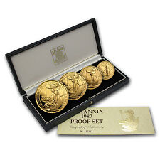1987 Proof Gold Britannia 4 Coin Set - with Box and Certificate - SKU #41774