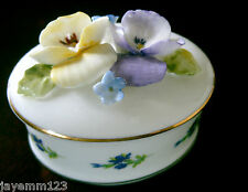 ROYAL STRATFORD TRINKET BOX BEST WISHES WITH PANSIES BONE CHINA PERFECT