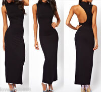 Round neck One shoulder Open back Long Maxi Party Evening Dress Bodycon sz SMALL