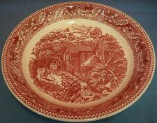 Vintage Red Toile Pie Plate Serving Dish Shallow Bowl Country Scene Stream Horse