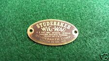 Studebaker Wig Wag Tail Light Acid Etched Brass Data Plate