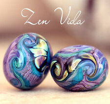 Lampwork Beads  Zen Vida Round Duo Handmade Glass Art 4 Jewelry Design  SRA A15