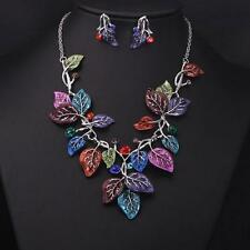 Multicolor Leaves Rhinestone Statement Necklace Drop Earring Jewelry Set