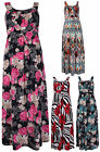 Womens Floral Print Ladies Sleeveless Long Stretch Tie Back Maxi Dress Plus Size