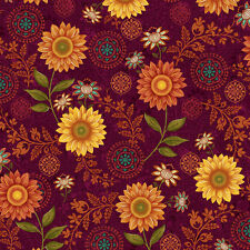 Burgundy Master Floral, Autumn Elegance, Studio e Rich Color By 1/2 yd