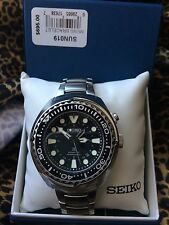 New Seiko SUN019 Prospex Kinetic GMT Diver Black Dial Stainless Steel Mens Watch