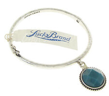 LUCKY BRAND Teal Green Jade Coin Charm Silver-Tone Hinged Bangle Bracelet
