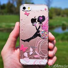 MADE IN JAPAN Hard Shell Clear Case Cute Fairy Flowers for iPhone SE / 5s / 5