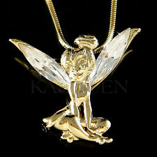 w Swarovski Crystal fairy Tinkerbell Tinker Bell Gold Tone ANGEL Charm Necklace