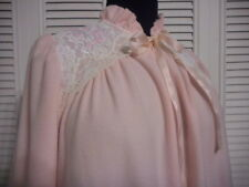 MISS ELAINE FLEECE ROBE SIZE SMALL PINK 3/4 ZIPPER FRONT LONG SLEEVES LACE TRIM