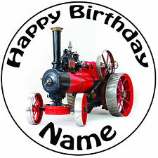 """Personalised Red Traction Engine Icing Cake Topper Round Easy Pre-cut 8"""" (20cm)"""
