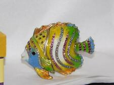 RUCINNI FANCY FISH BLUE PINK GREEN SWAROVSKI  CRYSTAL TRINKET JEWELRY BOX