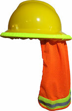 SAFETY HARD HAT NECK SHIELD / HELMET SUN SHADE HI VIS REFLECTIVE STRIPE - ORANGE