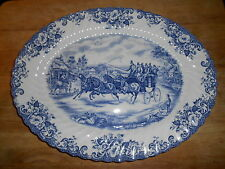 JOHNSON BROTHERS Blue Coaching Scenes Passing Through Oval Platter Thanksgiving