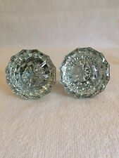 (2) Antique Glass and Brass Door Knobs! 12 point!