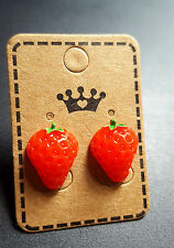 PAIR OF STRAWBERRY STUD EARRINGS -  NOVELTY FUN RETRO GIFT COOL CUTE QUIRKY WOW