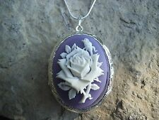 (LOCKET) STUNNING WHITE ROSE (on lavender ) CAMEO LOCKET- wedding-- gifts-- xmas