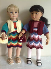 "Dolls Fashion clothes knitting  pattern. 18"" doll. Dress, bolero and bag."