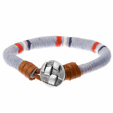 'Veneto' Nautical Blue,  Red & White Cord & Brown Leather Surf Bracelet for Men
