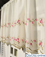 Country Style French Provincial Home Kitchen Embroidered Rose Sheer/Cafe Curtain