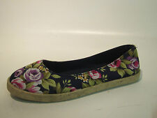 LADIES FLORAL CANVAS FLAT SUMMER SHOES STYLE F2217