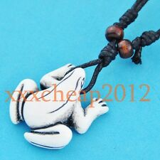 Tribal style frog pendant necklace wood beads RH185