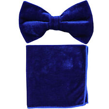New in box formal men's pre tied Bow tie & Hankie Velvet Royal Blue
