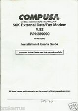 OWNERS GUIDE User Manual Modem data fax comp usa 56k external v.92 p/n: 289090