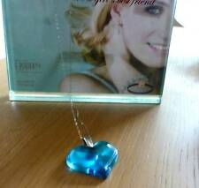 PENDANT LALIQUE LARGE HEART WHITE GOLD CHAIN  STUUNING BLUE - NEW ITEM