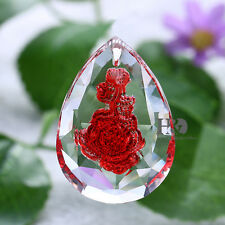 1PCS Red Rose Sun catcher Hanging Crystal Rainbow Prism Feng Shui Lighting Parts