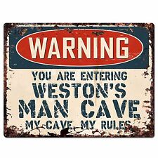 PP4090 WARNING WESTON'S MAN CAVE Chic Sign Home Store Wall Decor Funny Gift