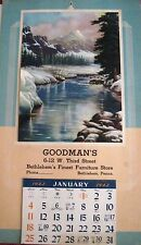 """1941 Vintage Calendar for """"Goodman's Furniture"""" Has All the President's B-Day"""" *"""
