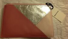 Whistles Leather Pink Small Mix Clutch Purse Cosmetics Case Zip Pouch NWT